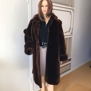 Jackets & Blazers - Real Fur Coat / Parka Brown (Mouton) L/XL